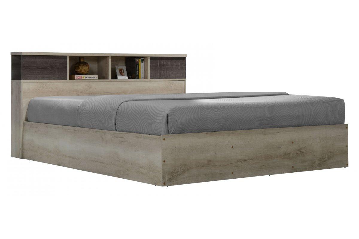 """Κρεβάτι """"OLYMPUS"""" διπλό σε χρώμα castillo-toro δρυς 167,50x221x84"""