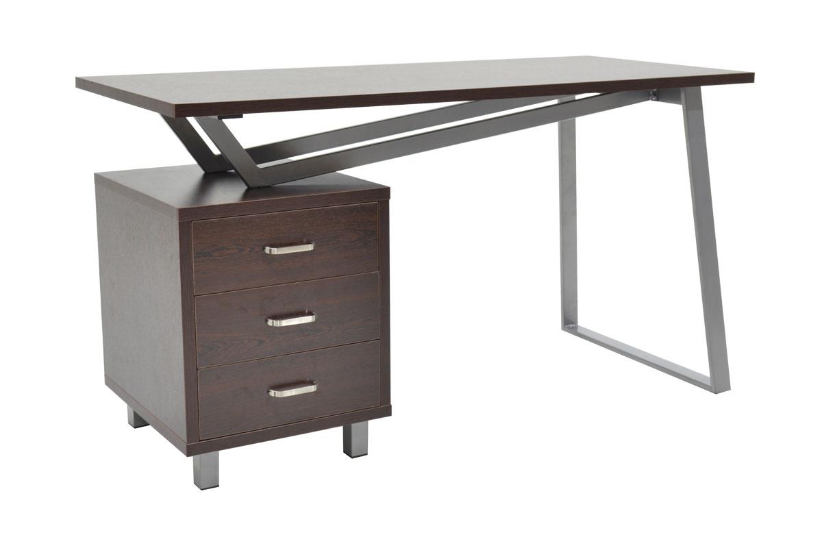 """Γραφείο εργασίας """"DOLORES"""" αναστρέψιμο MDF σε χρώμα wenge μεταλλικό πόδι silver grey ματ 140x60x76εκ"""