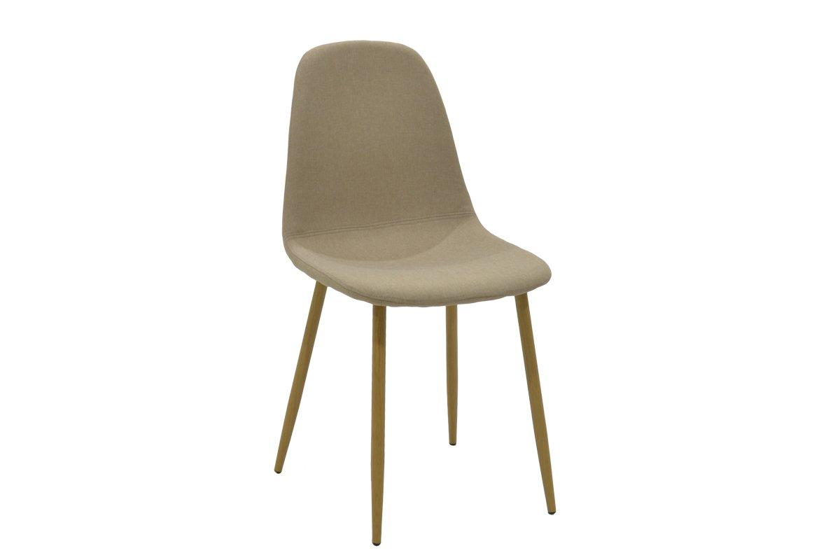 """Καρέκλα """"BELLA"""" μεταλλική σε φυσικό χρώμα με ύφασμα μπεζ 44x42x87"""