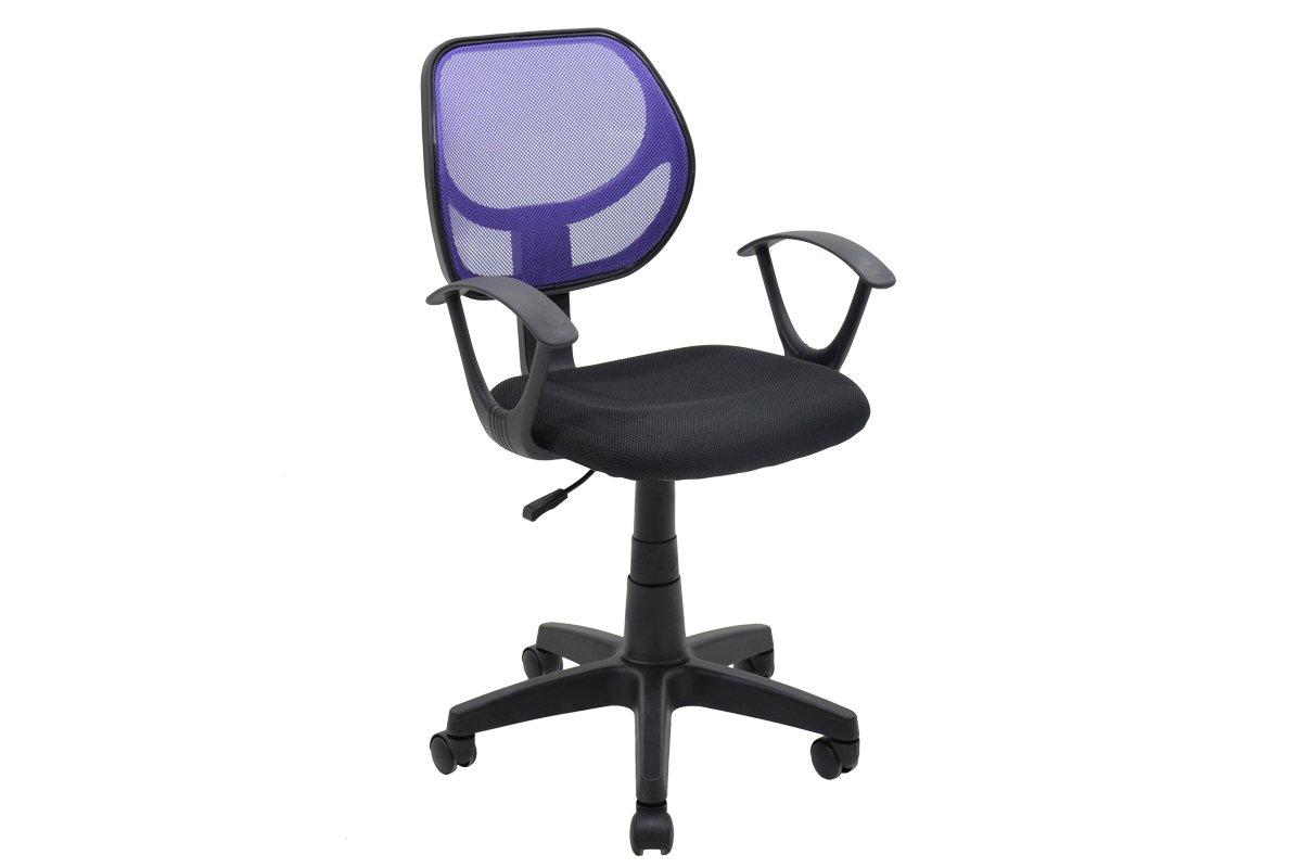 """Πολυθρόνα εργασίας """"SARA"""" με ύφασμα mesh σε χρώμα μαύρο-μωβ 56x51x88/100"""