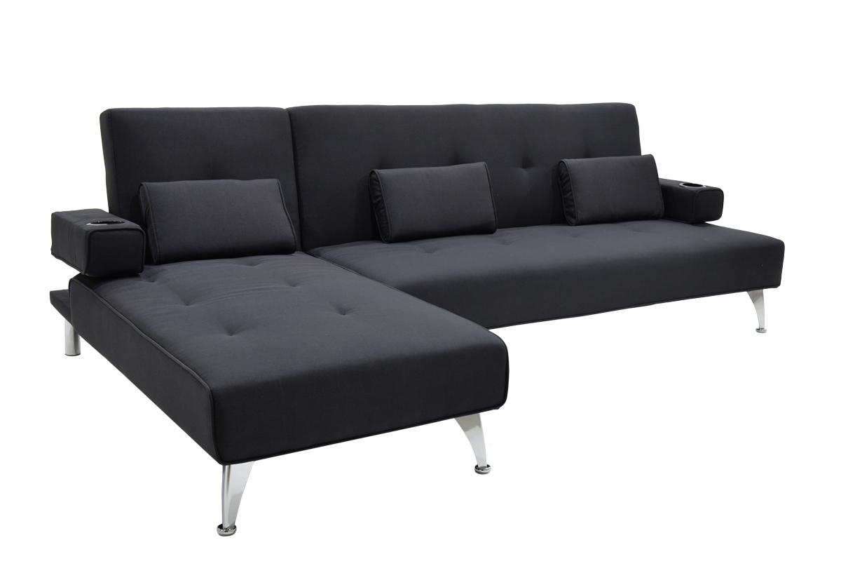 """Γωνιακός καναπές-κρεβάτι """"LUXURY"""" υφασμάτινος σε μαύρο χρώμα 258x156x84"""