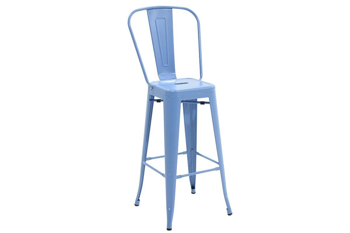 Σκαμπώ μπαρ «UTOPIA» με πλάτη μεταλλικό σε χρώμα μπλε 50x44x118