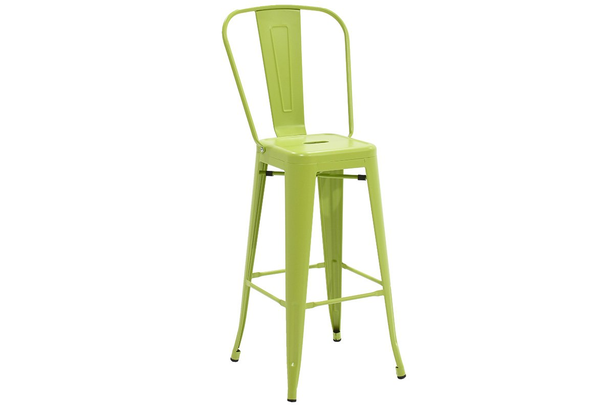 Σκαμπώ μπαρ «UTOPIA» με πλάτη μεταλλικό σε χρώμα πράσινο 50x44x118