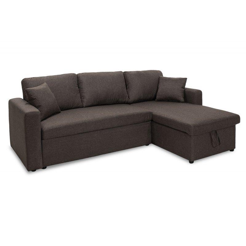 """Γωνιακός καναπές-κρεβάτι """"MARVEL"""" αναστρέψιμος υφασμάτινος σε καφέ χρώμα 220x145x83"""