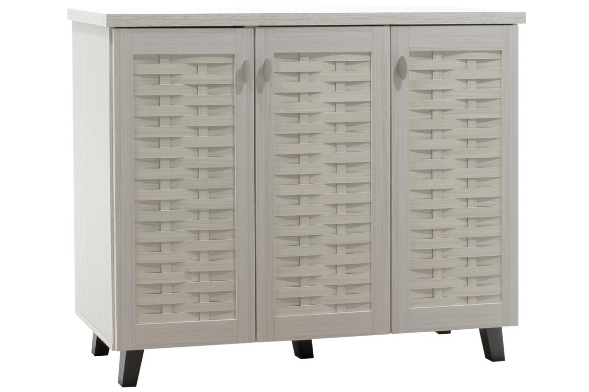 """Παπουτσοθήκη-ντουλάπι """"MANTAM"""" σε χρώμα λευκό-γκρι 115,5x40x92"""