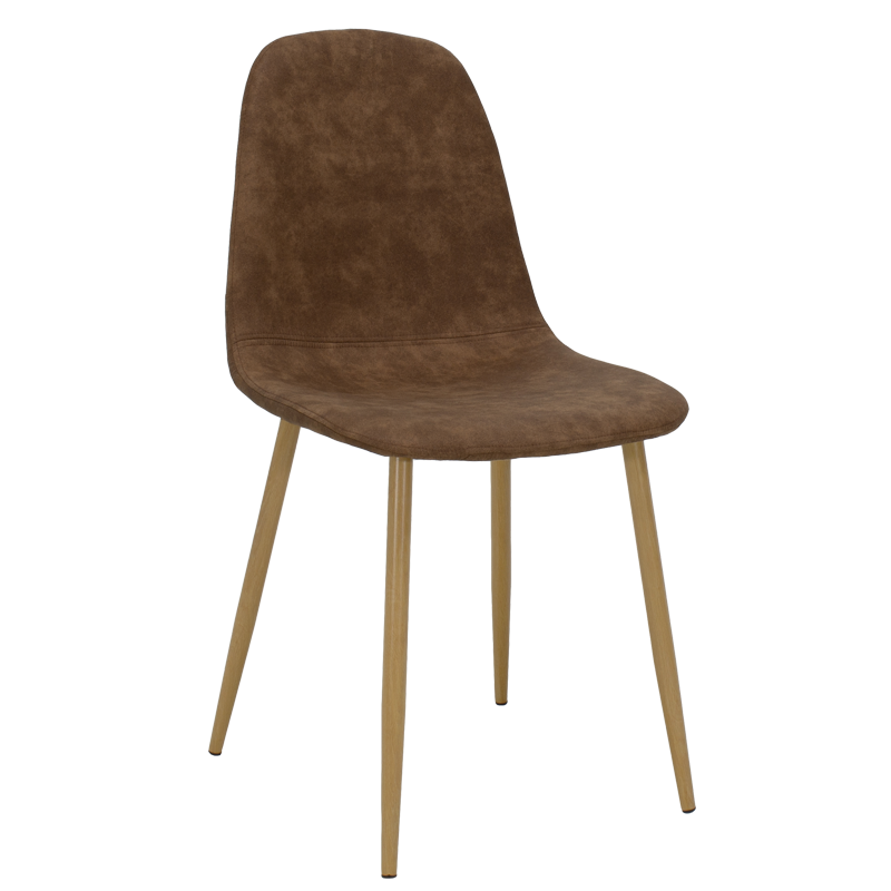 """Καρέκλα """"BELLA"""" μεταλλική σε χρώμα φυσικό με pu antique καφέ 44x50x88"""