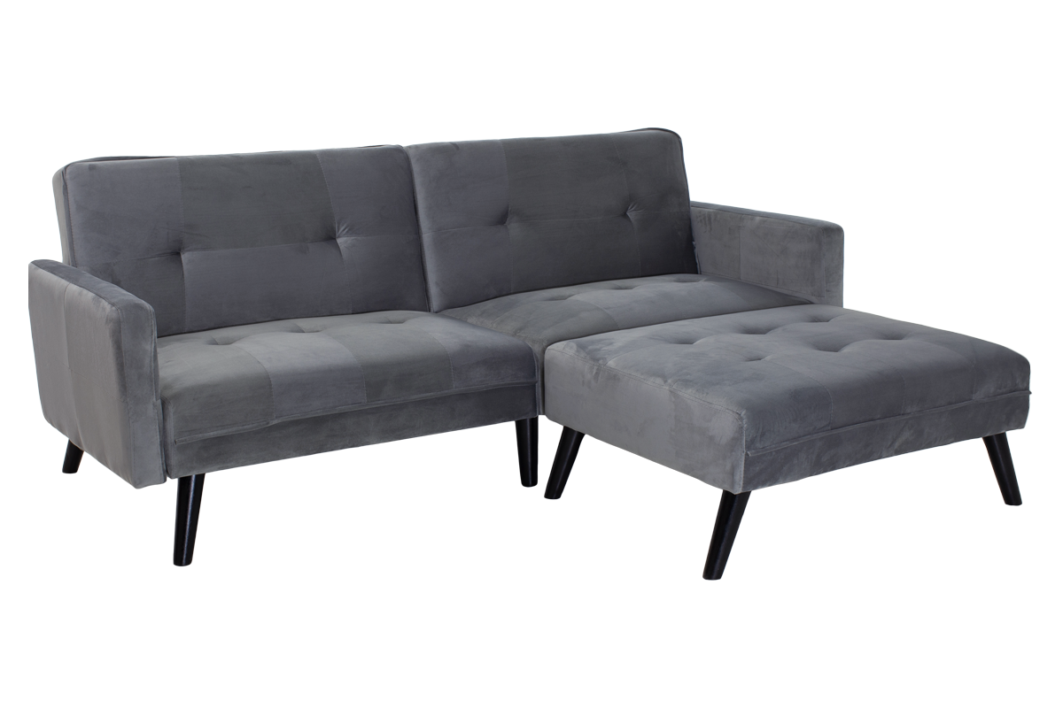 """Γωνιακός καναπές-κρεβάτι με σκαμπώ """"DREAM"""" σε χρώμα γκρι-ασημί βελούδο ύφασμα 209×87-195×80"""