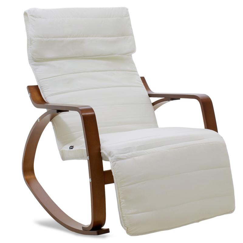 """Πολυθρόνα """"ELMA"""" κουνιστή υφασμάτινη χρώμα λευκό-καρυδί 66×95-117×96"""