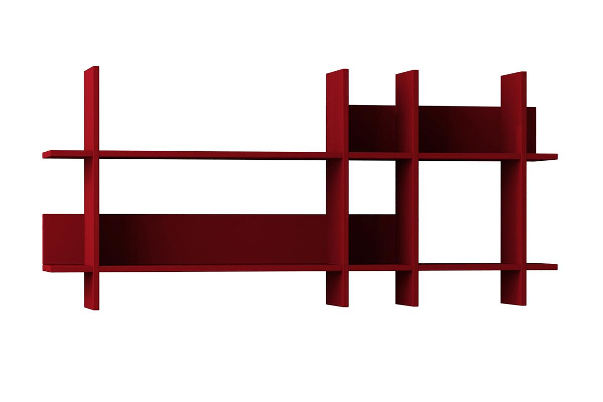 """Σύνθεση ραφιών """"BEADS"""" σε χρώμα σκούρο κόκκινο 150x22x70"""
