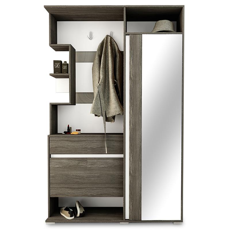 """Έπιπλο εισόδου """"VIVAL"""" με καθρέπτη χρώμα coffee urban/λευκό 123x35x195εκ"""