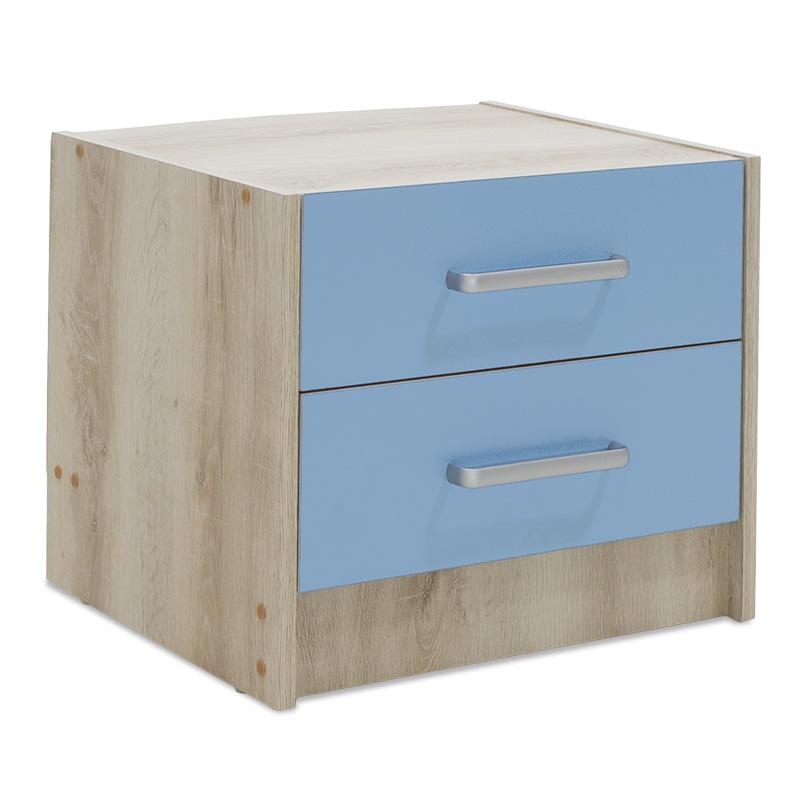 """Κομοδίνο παιδικό """"LOONEY"""" με 2 συρτάρια χρώμα castillo-μπλε 47,5×40,5×40,5"""