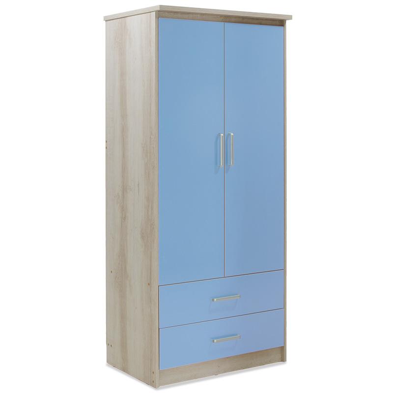 """Ντουλάπα ρούχων παιδική """"LOONEY"""" δίφυλλη σε χρώμα castillo-μπλε 81x57x183"""