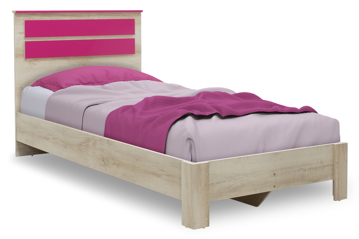 """Κρεβάτι παιδικό """"LOONEY"""" μονό σε χρώμα castillo-ροζ 204,5x107x102"""