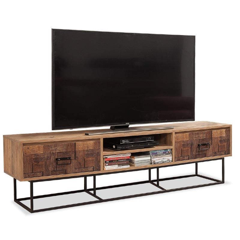 Έπιπλο τηλεόρασης σε χρώμα πεύκο/μαύρο 180x40x50