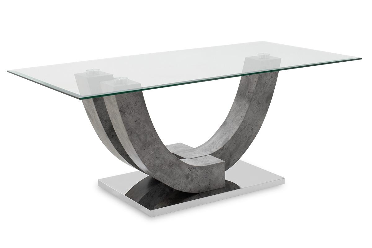 """Τραπέζι σαλονιού """"DUNK"""" γυάλινο σε χρώμα γκρι cement 120x60x48"""