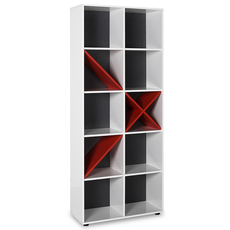 """Βιβλιοθήκη """"GAMING"""" σε χρώμα λευκό/κόκκινο 75x30x188"""