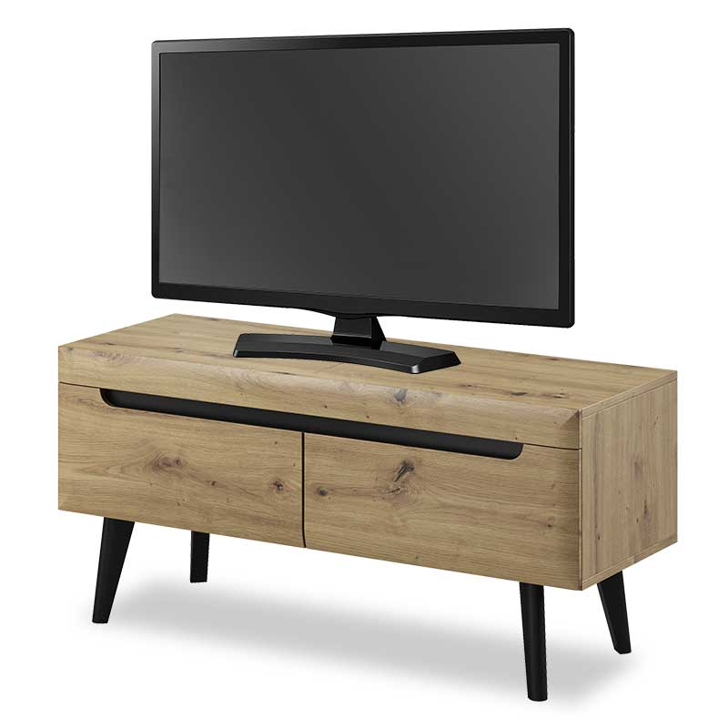 """Έπιπλο τηλεόρασης """"NORDI"""" σε φυσικό με λεπτομέρειες σε μαύρο χρώμα 107x40x50"""