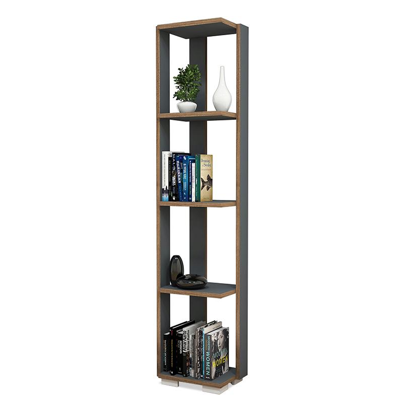 """Βιβλιοθήκη-στήλη """"NEGRO"""" σε χρώμα ανθρακί-καρυδί 34x26x153"""