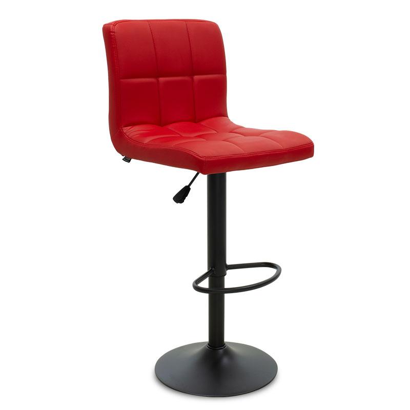 """Σκαμπώ μπαρ """"REMINA"""" μεταλλικό μαύρο ματ από pu σε χρώμα κόκκινο 45x36x93/114"""