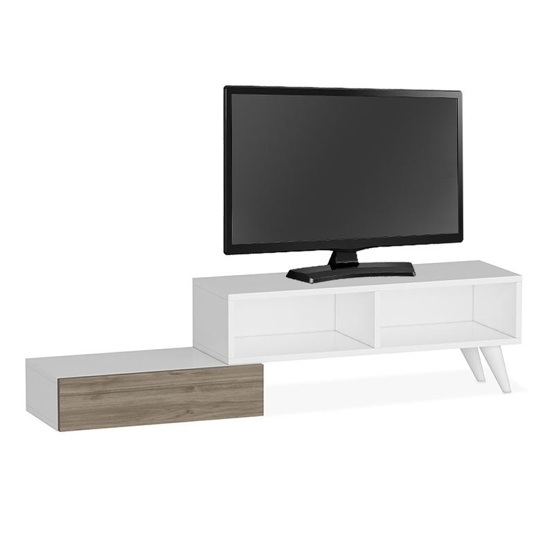 """Έπιπλο τηλεόρασης """"ACTIVE"""" σε λευκό-καρυδί χρώμα 140x30x35"""