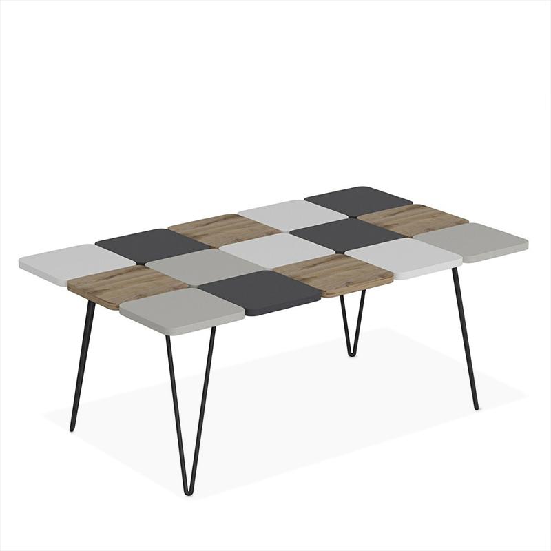 """Τραπέζι σαλονιού """"LEAF"""" σε χρώμα καρυδί/ανθρακί 110x66x44"""