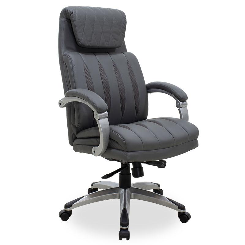 """Πολυθρόνα γραφείου διευθυντή """"IMPERIAL"""" με τεχνόδερμα σε χρώμα γκρι 64x75x115/122"""