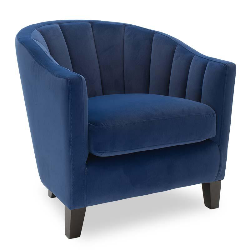 """Πολυθρόνα """"BOGA"""" βελούδινη σε χρώμα σκούρο μπλε 74x80x73"""