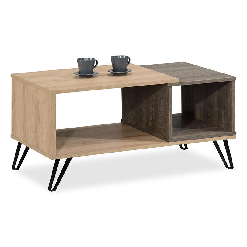"""Τραπέζι σαλονιού """"BRUNO"""" από mdf σε χρώμα φυσικό/σταχτί 90x51x45"""