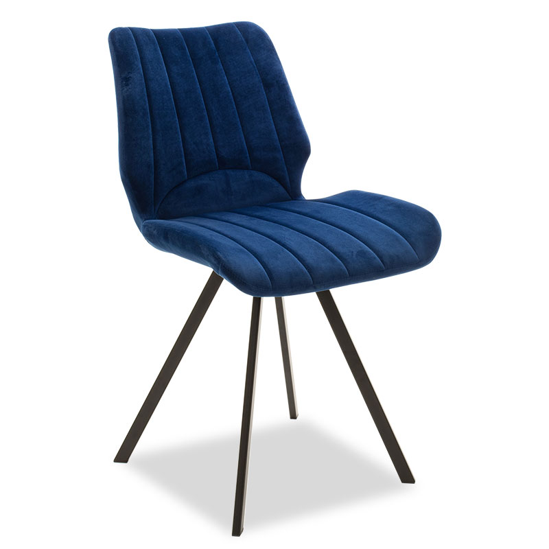 """Καρέκλα """"SABIA"""" μεταλλική μαύρη με ύφασμα βελουτέ σκούρο μπλε 45,50x58x80"""