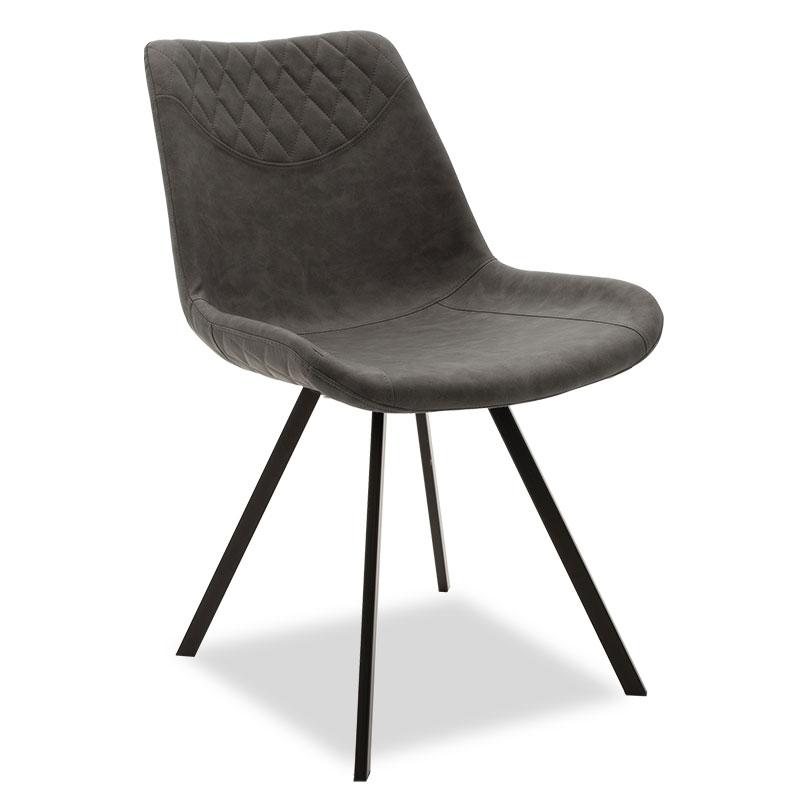 """Καρέκλα """"ORCA"""" μεταλλική μαύρη από pu σε ανθρακί χρώμα 50x60x78"""