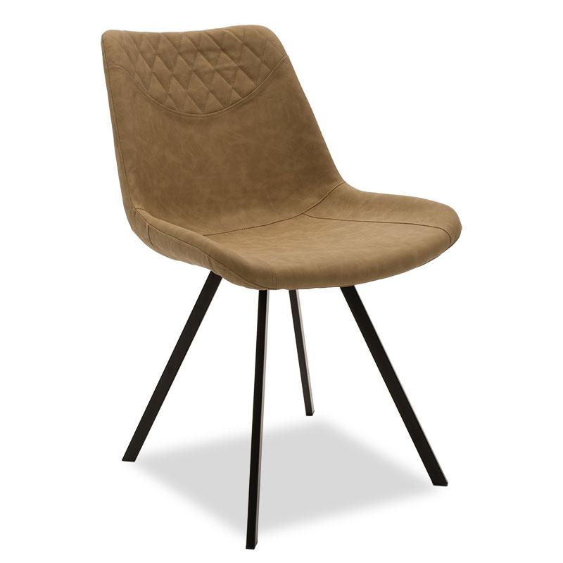"""Καρέκλα """"ORCA"""" μεταλλική μαύρη από pu σε μπεζ-καφέ χρώμα 50x60x78"""