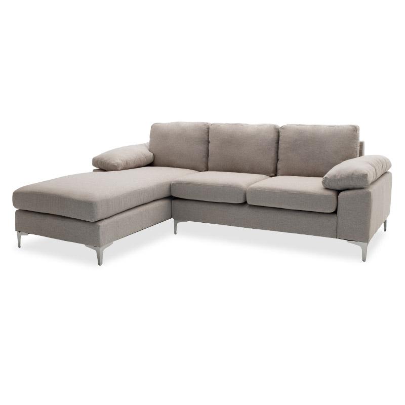 """Γωνιακός καναπές """"COHEN"""" δεξιά γωνία υφασμάτινος σε χρώμα μπεζ 240x159x83"""