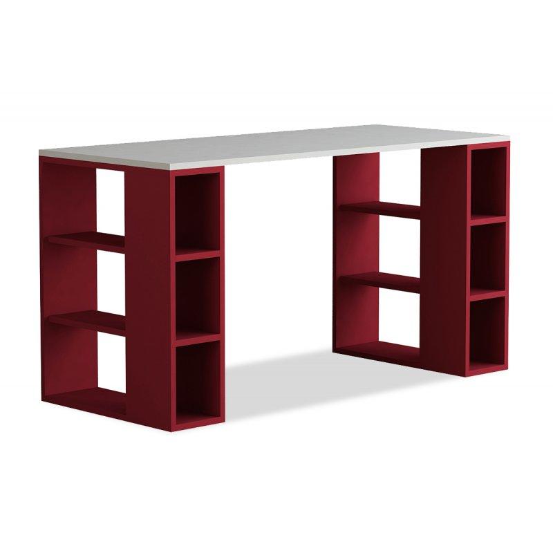 """Γραφείο εργασίας """"COLMAR"""" σε χρώμα λευκό -σκούρο κόκκινο 140x60x75"""