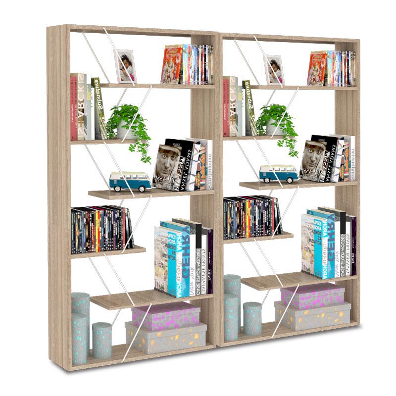 """Βιβλιοθήκη """"TARS"""" σε χρώμα σονόμα με λεπτομέρειες σε λευκό 168x24x157"""