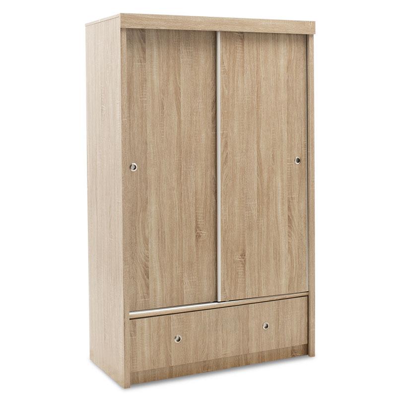 """Ντουλάπα ρούχων """"MAGNUM"""" δίφυλλη με συρόμενες πόρτες και συρτάρι σε σονόμα χρώμα 110×53.5×180"""