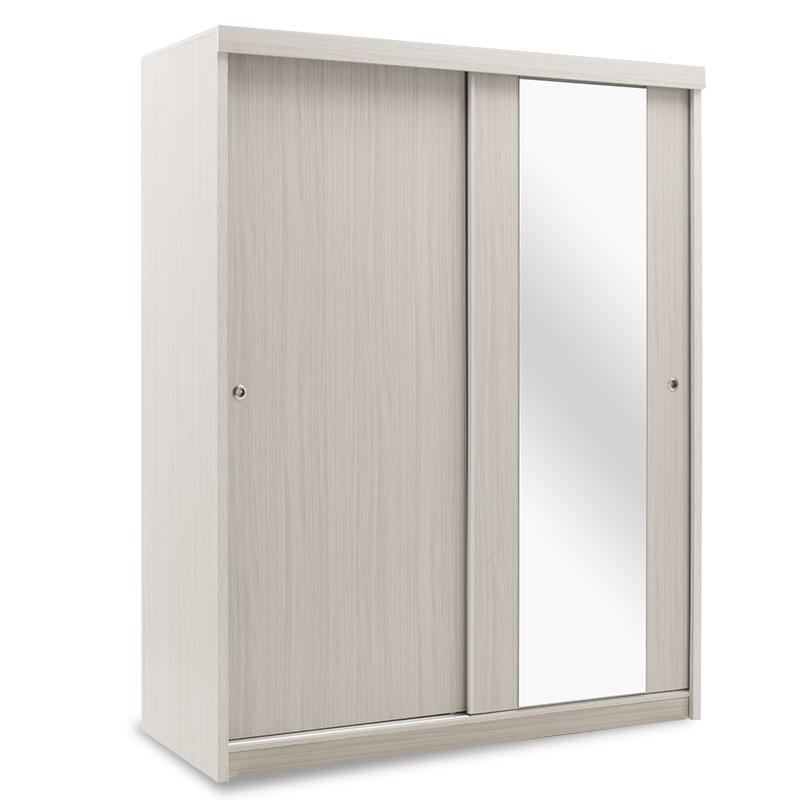 """Ντουλάπα ρούχων """"COSMO"""" δίφυλλη με συρόμενες πόρτες σε λευκό-γκρι χρώμα 160x62x200"""