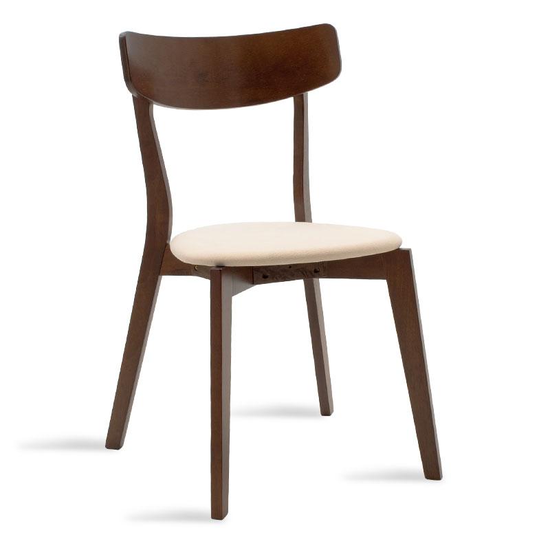 """Καρέκλα """"TOTO"""" από μασιφ ξύλο rubber wood σε καρυδί χρώμα με μπεζ ύφασμα 45x48x78"""