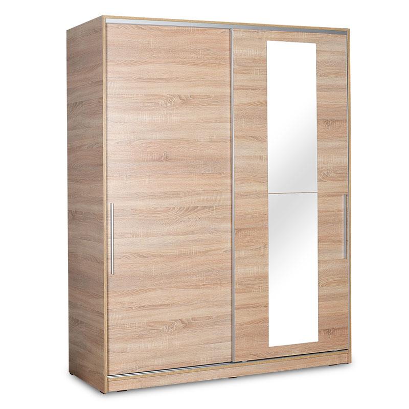 """Ντουλάπα ρούχων """"SLIDE"""" δίφυλλη με συρόμενες πόρτες σε χρώμα σονόμα 160x60x207"""