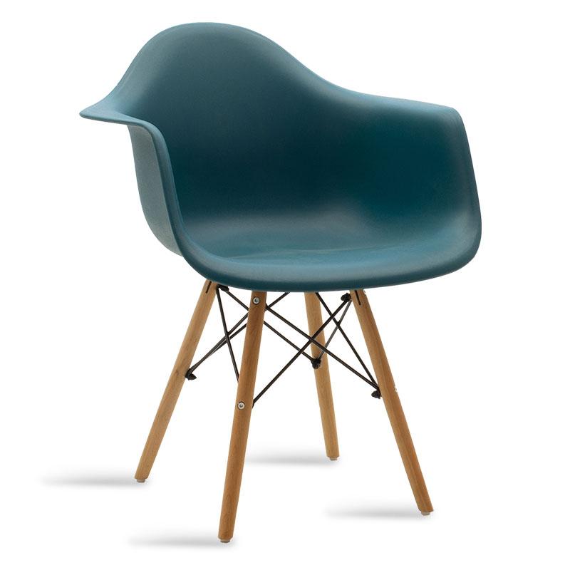 """Πολυθρόνα """"JULITA"""" από PP σε χρώμα σκούρο μπλε/φυσικό 62x60x78,5"""