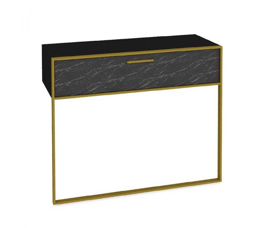 """Κονσόλα """"PWF-0298"""" σε χρώμα μαύρο μαρμάρου-χρυσό 90×38,5×77"""