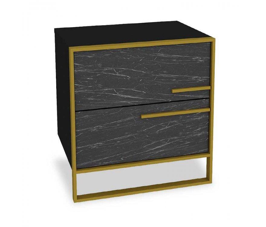"""Κομοδίνο """"PWF-0298"""" σε χρώμα μαύρο μαρμάρου-χρυσό 50×38.5×52"""