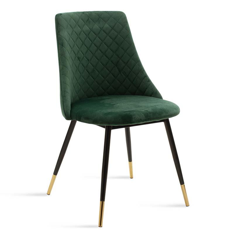 """Καρέκλα """"GISELLE"""" μεταλλική-ύφασμα βελουτό σε χρώμα μαύρο-πράσινο 52x51x82"""