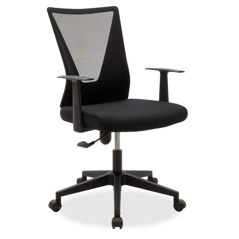 """Πολυθρόνα εργασίας """"GHOST"""" υφασμάτινη σε χρώμα μαύρο 61x56x102/110"""