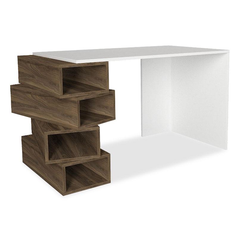Γραφείο εργασίας σε χρώμα λευκό-φυσικό 130x60x75