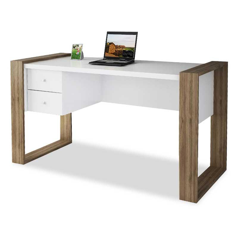 Γραφείο εργασίας σε χρώμα λευκό-καρυδί 140x60x75