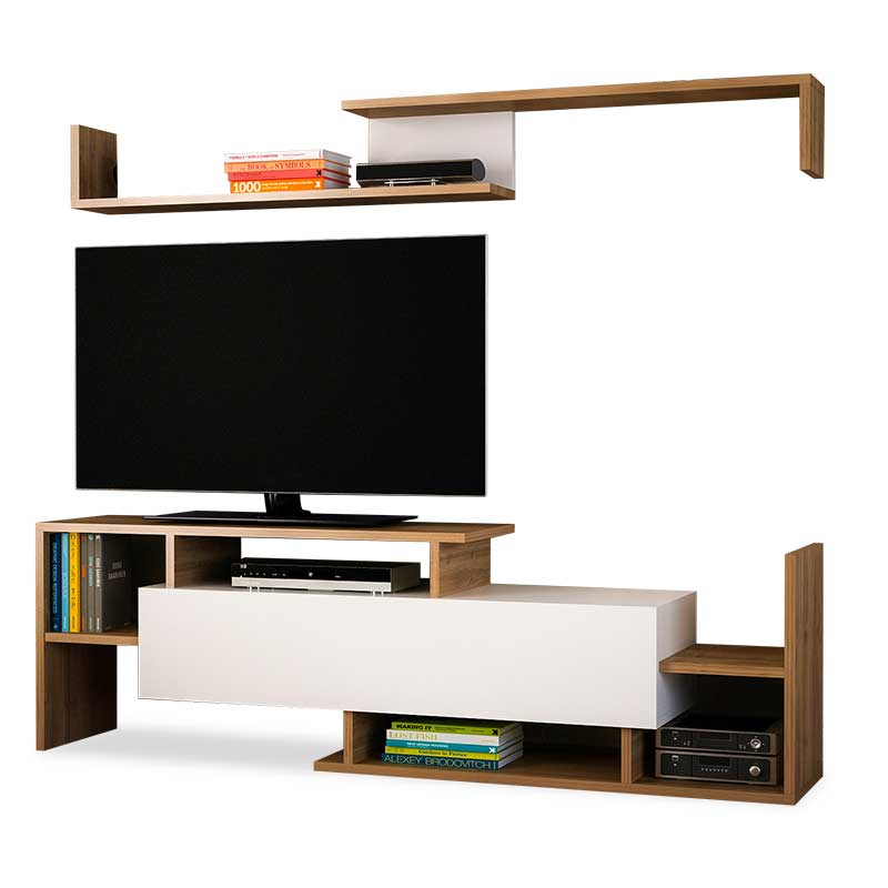 Έπιπλο τηλεόρασης σε χρώμα καρυδί-λευκό 153,5x25x42