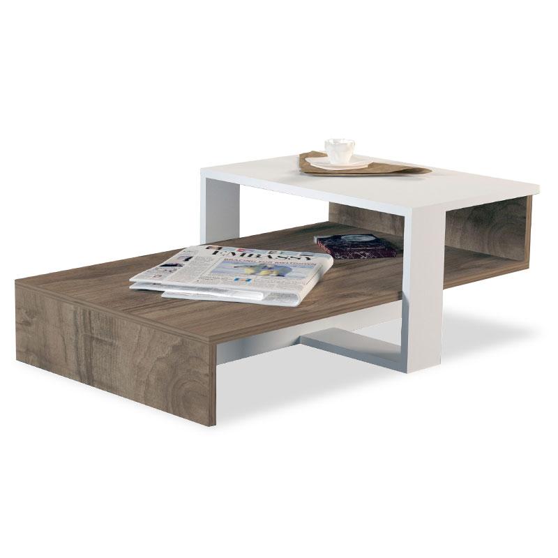 Τραπέζι σαλονιού σε χρώμα καρυδί-λευκό 80×43.5×32.5