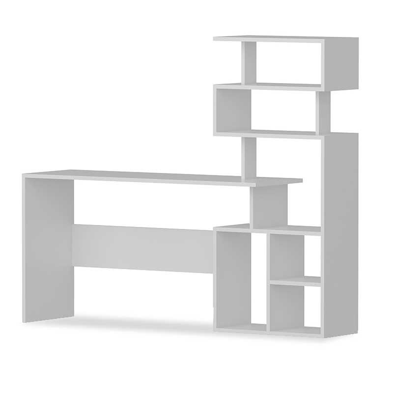 Γραφείο εργασίας με βιβλιοθήκη σε λευκό χρώμα 160x40x135