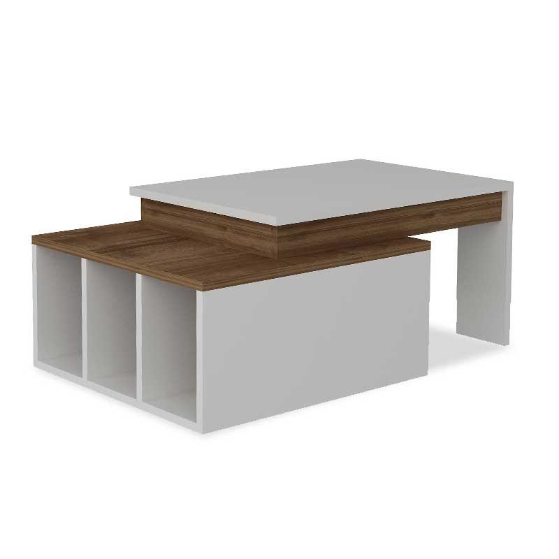 Τραπέζι σαλονιού σε χρώμα καρυδί-λευκό 90x60x37.5