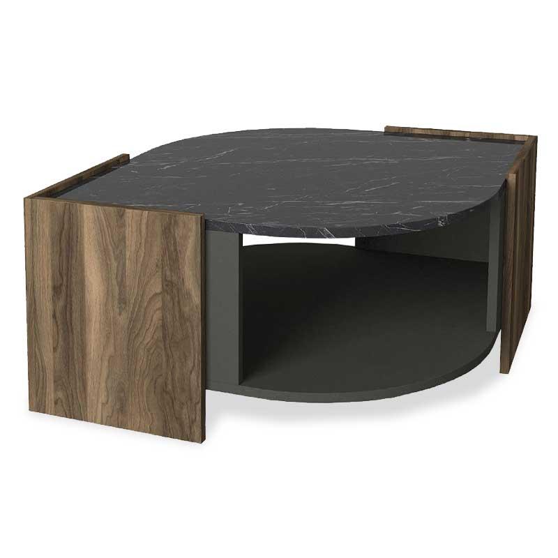 Τραπέζι σαλονιού σε χρώμα μαύρο μαρμάρου-καρυδί-ανθρακί 75x75x40